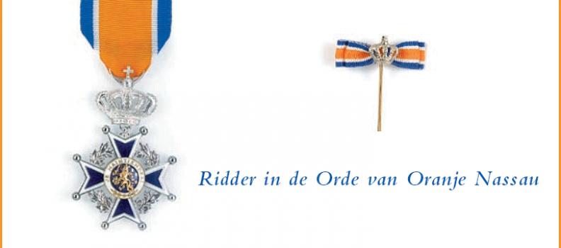 Jan Prop onderscheiden tot Ridder in de Orde van Oranje-Nassau